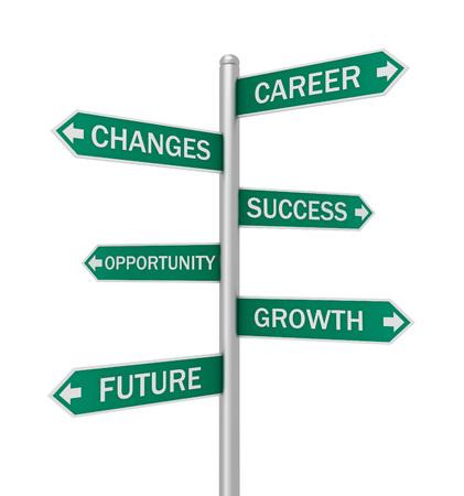business sign: business changes direction sign 3d concept illustration