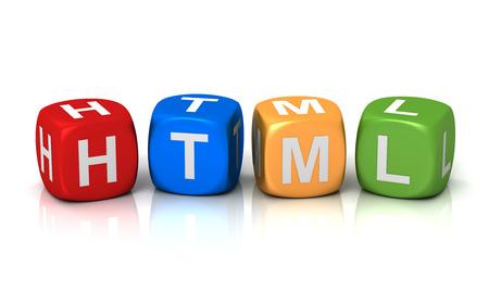 xhtml: html cubes 3d illustration isolated on white background Stock Photo
