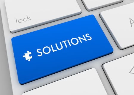 solutions keyboard 3d illustration isolated on white background