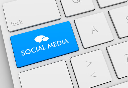 emarketing: social media keyboard 3d illustration isolated on white background