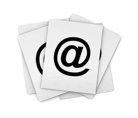 large group of object: e mail stack 3d illustration isolated on white background