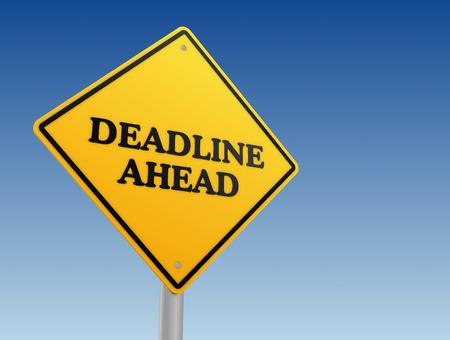 ahead: deadline ahead road sign 3d concept illustration