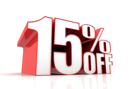 fifteen: fifteen percent off sale 3d illustration isolated on white background