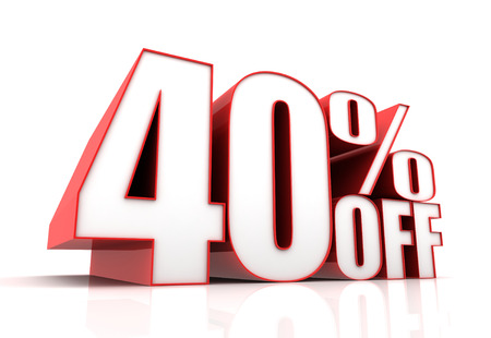 forty: forty percent off sale 3d illustration isolated on white background