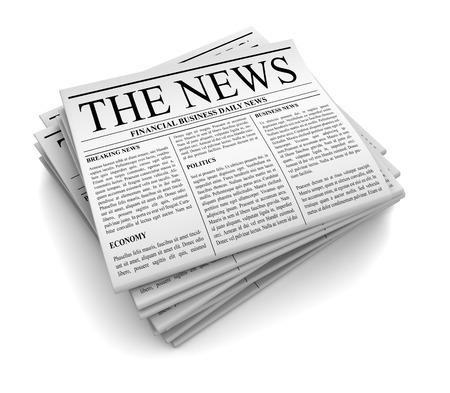 article writing: newspaper 3d illustration isolated on white background Stock Photo