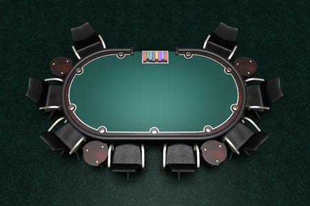 poker tafel en stoelen op tapijt 3d illustratie