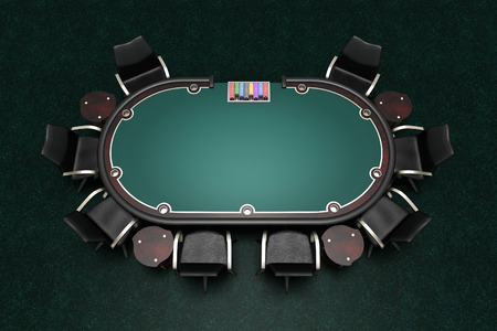 poker table and chairs on carpet 3d illustration Standard-Bild