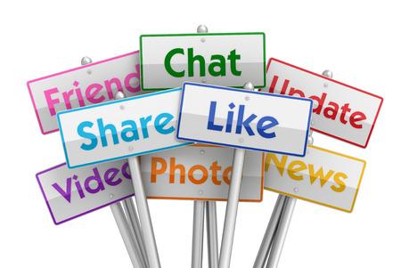 白い背景で隔離社会メディア プラカード 3 d イラスト 写真素材