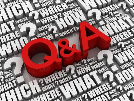 q en een letters en een vraag verwante sleutelwoorden 3d illustratie Stockfoto