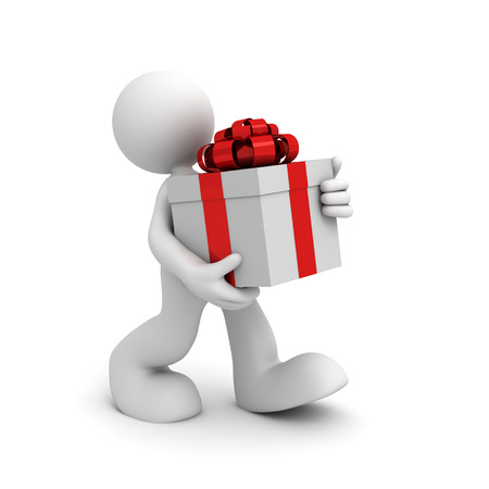 carrying box: carrying gift box 3d illustration isolated on white background