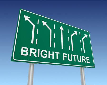 bright future road sign 3d concept illustration on sky background Stock Photo