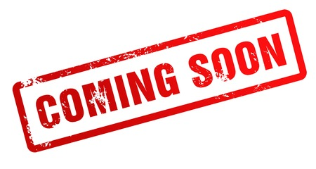 coming soon rubber stamp illustration isolated on white background Standard-Bild