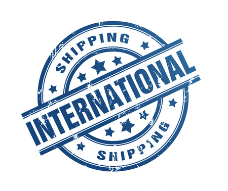 emigration: international shipping rubber stamp illustration isolated on white background