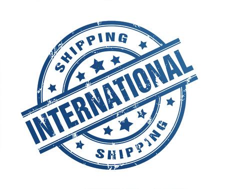 international shipping rubber stamp illustration isolated on white background