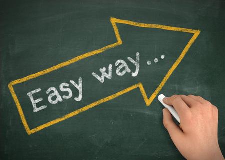 basic scheme: easy way chalkboard hand write 3d illustration