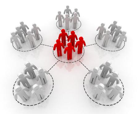 réseau de personnes connexions 3d illustration isolé sur fond blanc
