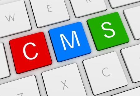wordpress: cms keyboard 3d illustration isolated on white background