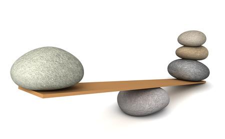 pebble: balancing stones 3d illustration isolated on white background