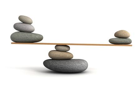 stacked stones: balancing stones 3d illustration isolated on white background
