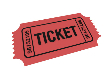permission: ticket 3d illustration isolated on white background