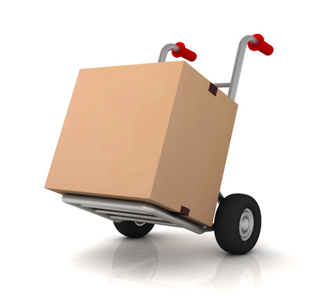 work crate: cardboard box and hand truck 3d illustration isolated on white background Stock Photo