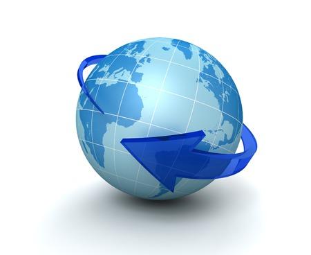 globe surrounding arrow 3d illustration isolated on white background Stock Photo