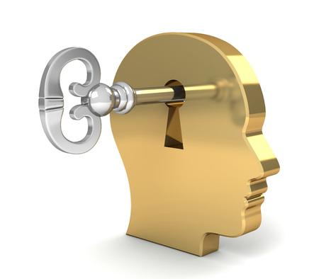 otwierając umysł z kluczową 3d ilustracją na białym tle
