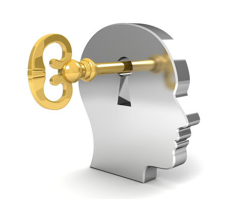opening mind with a key 3d illustration isolated on white background Stock Photo