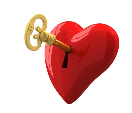 door lock love: heart and key 3d illustration isolated on white background