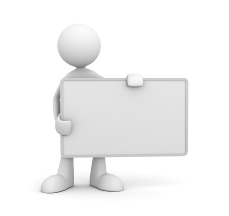 exhibiting: holding blank placard 3d illustration isolated on white background