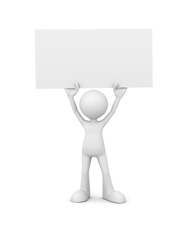 placard: holding blank placard 3d illustration isolated on white background