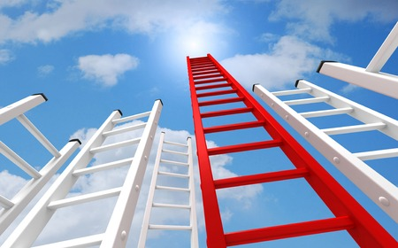 red and white ladders and clouds 3d illustration