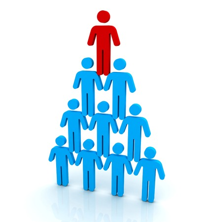 casual business team: human pyramid 3d illustration isolated on white background