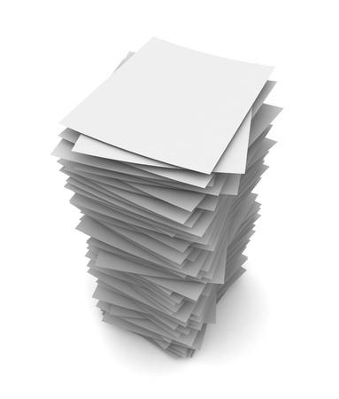 白い背景に分離されたペーパー スタック 3 d イラストレーション
