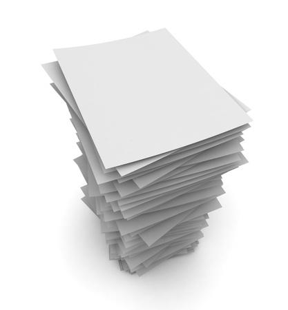 stapel papier 3D-afbeelding op een witte achtergrond Stockfoto