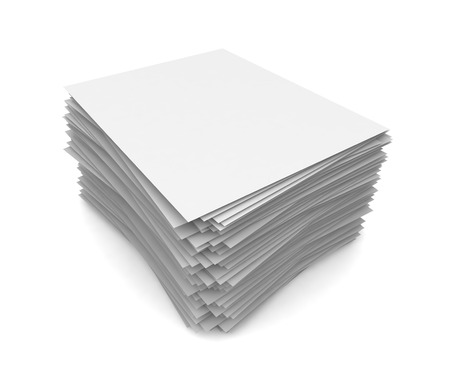 paper stack: paper stack 3d 3d illustration isolated on white background