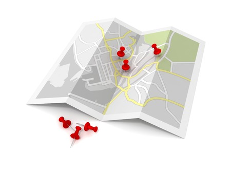 pushpin on map 3d illustration isolated on white background Stock Photo