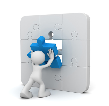 man completing the puzzle 3d illustration isolated on white background