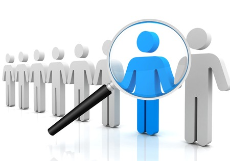 inquire: searching person 3d 3d illustration isolated on white background Stock Photo