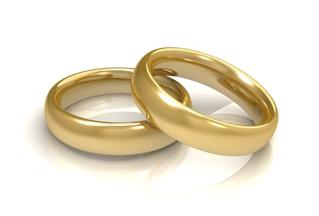 golden wedding rings 3d 3d illustration isolated on white background Stock Photo