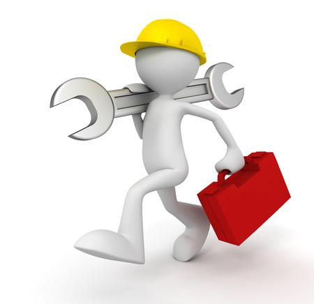 reparatiedienst man 3d illustratie op een witte achtergrond