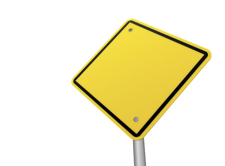 traffic pole: blank road sign 3d concept illustration on white background Stock Photo