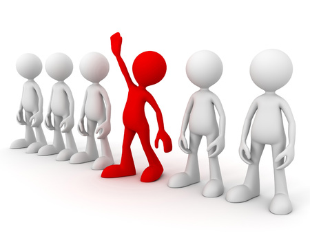 spectator: standing out from the crowd 3d illustration isolated on white background Stock Photo
