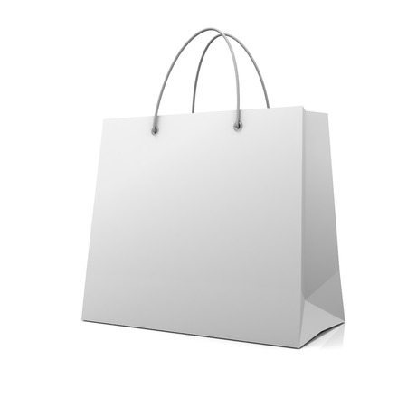 single shopping bag 3d illustration isolated on white background Imagens