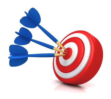 bullseye target 3d illustration isolated on white background