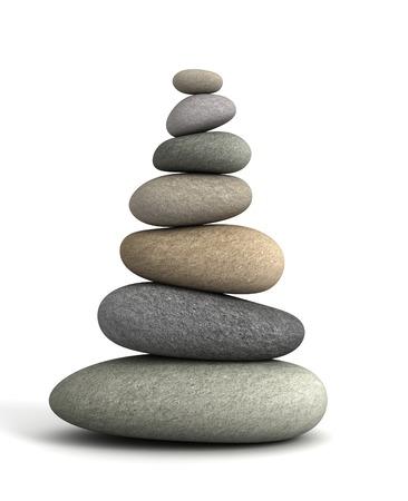 balancing stones 3d illustration isolated on white background