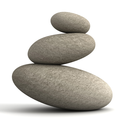 balancing stones 3d 3d illustration isolated on white background Stock Photo