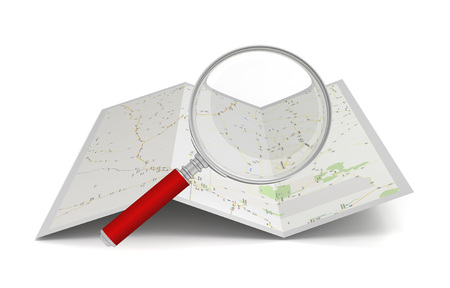 searching map 3d illustration isolated on white background