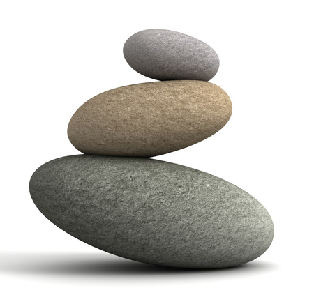 equilibrium: balancing stones 3d illustration isolated on white background