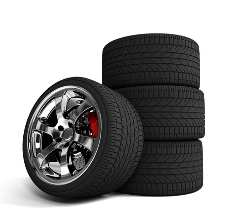 durability: car tire 3d illustration isolated on white background
